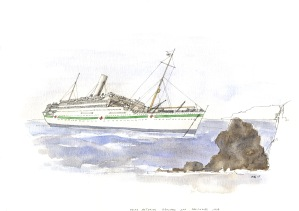HMHS Asturias was a hospital ship which foundered on the rocks at Salcombe